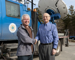 Dr Joshua Wurman and John C. Lagadinos in front of the Center for Severe Weather Research Doppler on Wheels